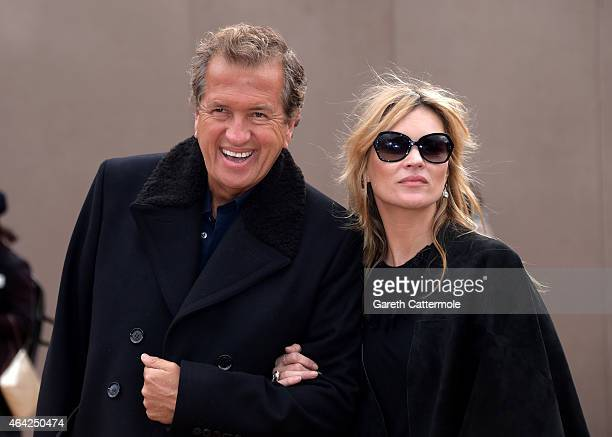 Mario Testino and Kate Moss attends the Burberry Prorsum AW 2015 arrivals during London Fashion Week at Kensington Gardens on February 23 2015 in...
