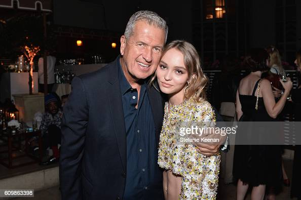 Mario Testino and LilyRose Depp wearing Chanel attend the Chanel dinner celebrating N°5 L'Eau with LilyRose Depp at Sunset Tower Hotel on September...