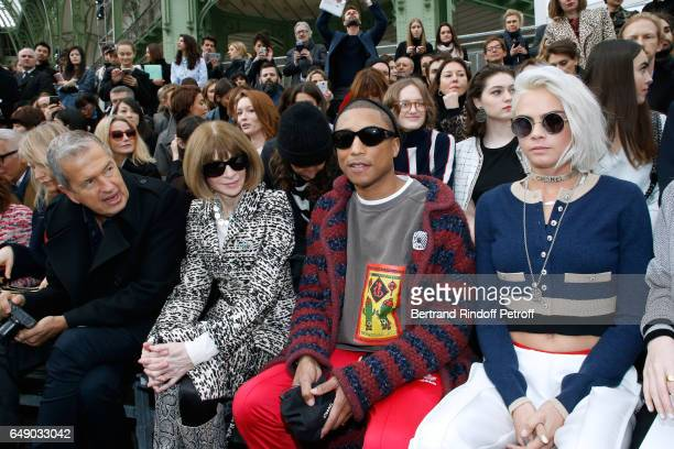 Mario Testino Anna Wintour Pharrell Williams and Cara Delevingne attend the Chanel show as part of the Paris Fashion Week Womenswear Fall/Winter...