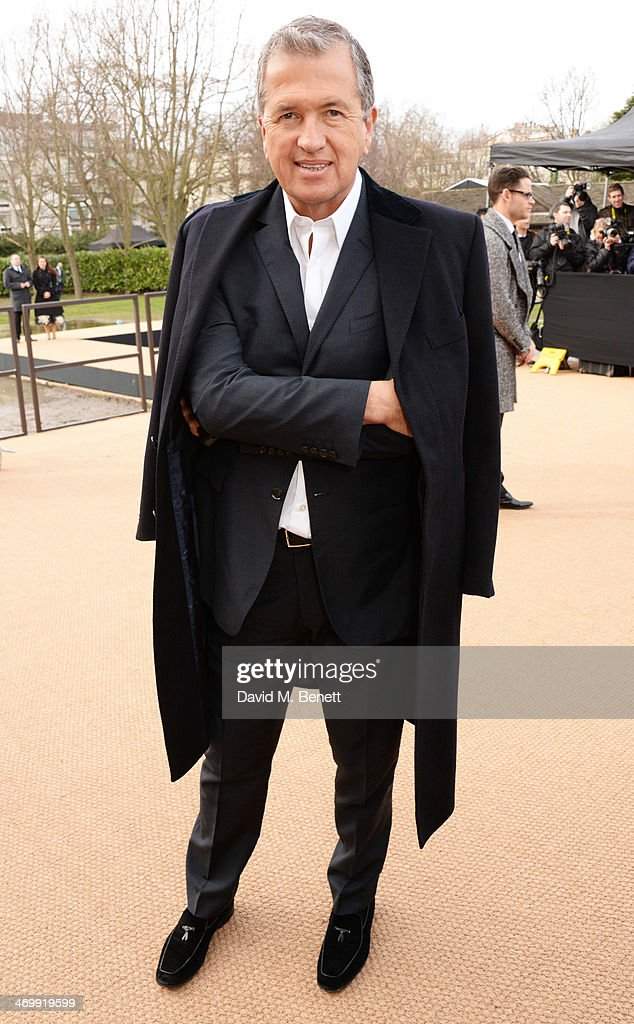 Mario Testino arrives at Burberry Womenswear Autumn/Winter 2014 at Kensington Gardens on February 17, 2014 in London, England.