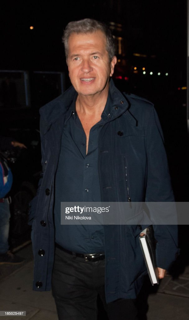 Mario Testino is sighted leaving the Westbury Hotel, Mayfair on October 21, 2013 in London, England.