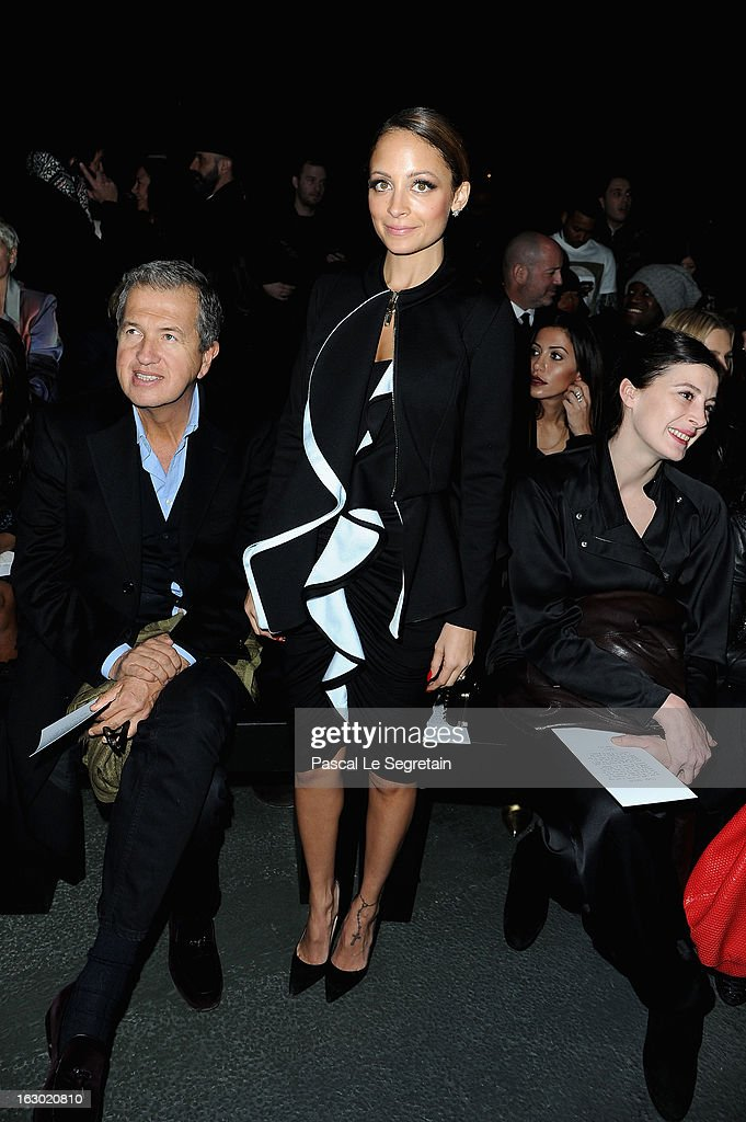 Mario Testino, <a gi-track='captionPersonalityLinkClicked' href=/galleries/search?phrase=Nicole+Richie&family=editorial&specificpeople=201646 ng-click='$event.stopPropagation()'>Nicole Richie</a> and Marie-Agnes Gillot attend the Givenchy Fall/Winter 2013 Ready-to-Wear show as part of Paris Fashion Week on March 3, 2013 in Paris, France.