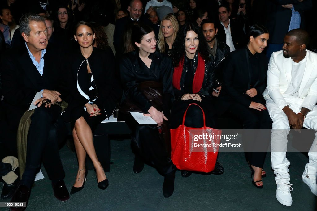 Mario Testino, Nicole Richie, Marie-Agnes Gillot, Marielle Labeque, Kim Kardashian and Kanye West attend the Givenchy Fall/Winter 2013 Ready-to-Wear show as part of Paris Fashion Week on March 3, 2013 in Paris, France.