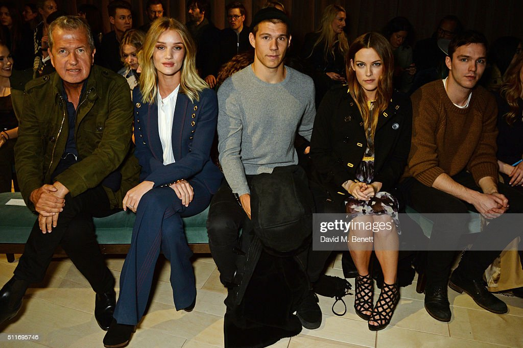 Mario Testino, Rosie Huntington-Whiteley, Ben Smith-Petersen, Riley Keough and Nicholas Hoult wearing Burberry at the Burberry Womenswear February 2016 Show at Kensington Gardens on February 22, 2016 in London, England.