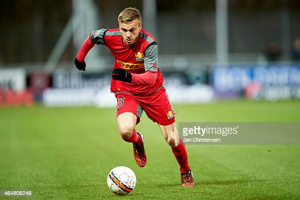 Mario Ticinovic of FC Nordsjalland in action during the Danish Alka Superliga match between Hobro IK and FC Nordsjalland at DS Arena on February 28...