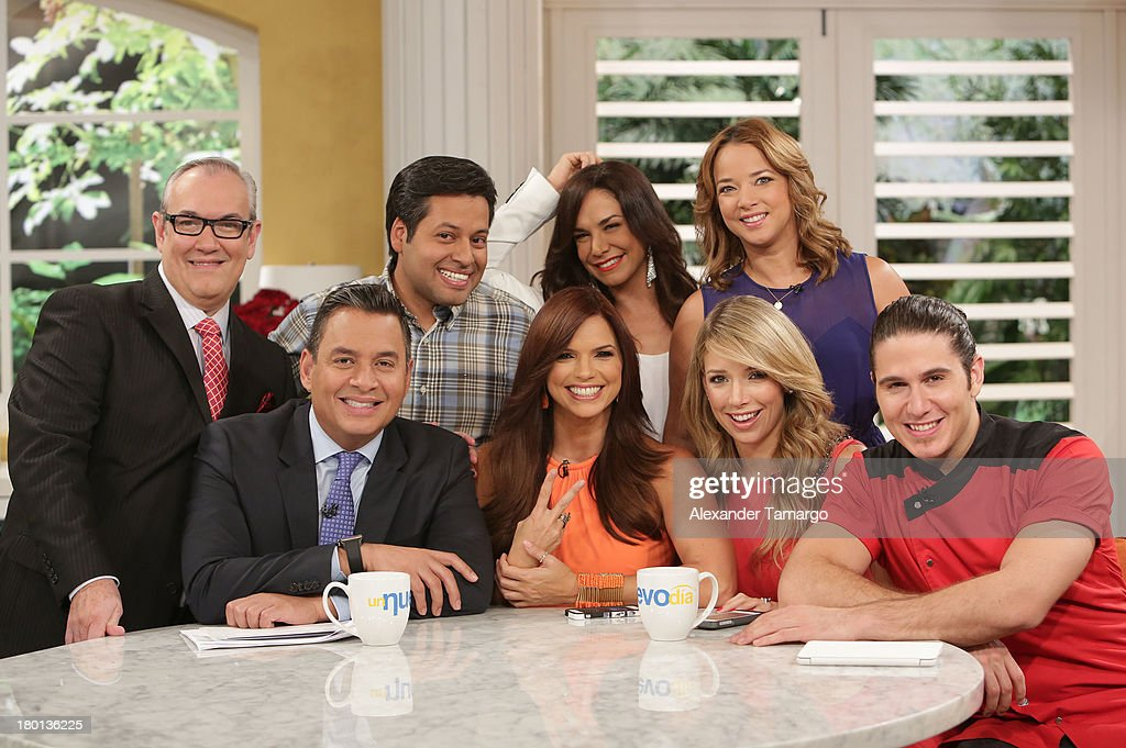 Mario Vannucci, Daniel Sarcos, Angel Gabriel, Rashel Diaz, Liz Vega, Adamari Lopez, Alessandra Villegas and Chef James Tahhan are seen on the set of Telemundo's 'Un Nuevo Dia' at Telemundo Studio on September 9, 2013 in Miami, Florida.