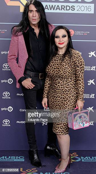 Mario Vaquerizo and singer Alaska attends the 'Los40 Music Awards 2016' photocall at Florida Park on October 5 2016 in Madrid Spain
