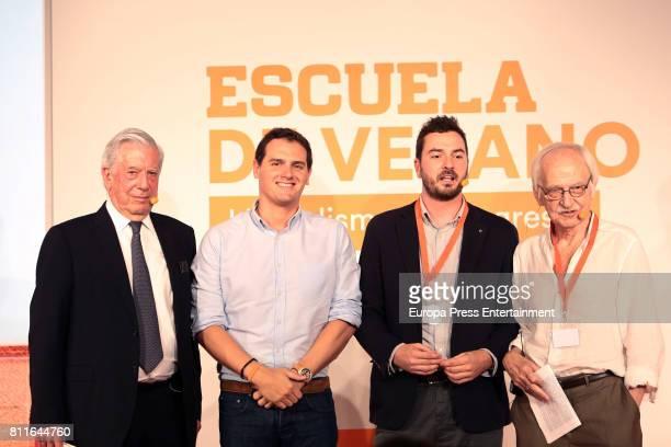 Mario Vargas Llosa Albert Rivera Jorge Bustos and Antonio Escohotado attend the opening of Ciudadanos Party summer courses on July 7 2017 in Madrid...