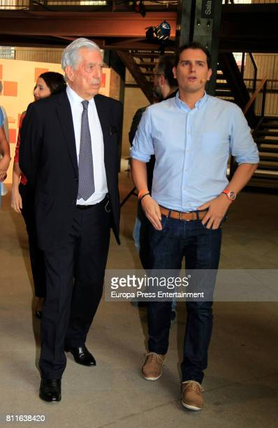 Mario Vargas Llosa and Albert Rivera attend the opening of Ciudadanos Party summer courses on July 7 2017 in Madrid Spain