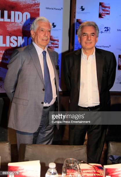Mario Vargas Llosa and Alvaro Vargas Llosa attend 'El Estallido Del Populismo' book presentation at Casa de America on June 6 2017 in Madrid Spain