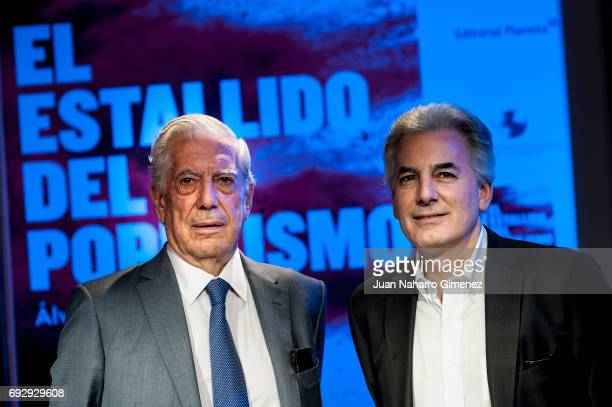 Mario Vargas Llosa and Alvaro Vargas Llosa attends 'El Estallido Del Populismo' book presentation at Casa de America on June 6 2017 in Madrid Spain