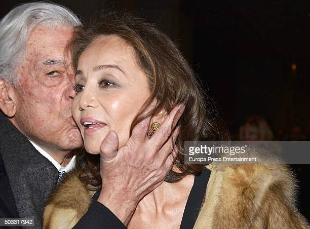 Mario Vargas LLosa and Isabel Preysler are seen arriving at Auditorium on December 05 2015 in Madrid Spain