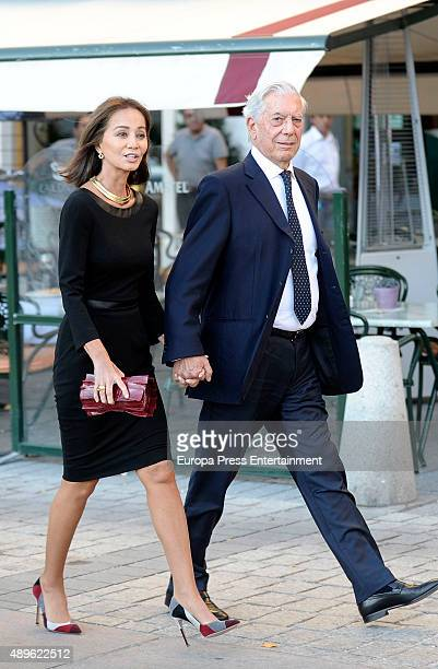 Mario Vargas Llosa and Isabel Preysler are seen arriving at Royal Theatre to attend the first opera of the season on September 22 2015 in Madrid Spain