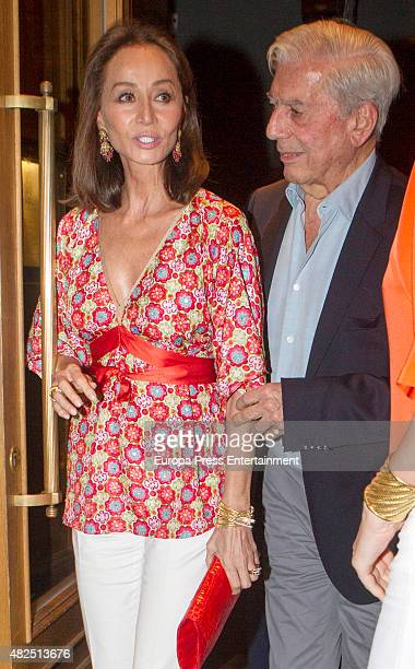 Mario Vargas Llosa and Isabel Preysler are seen on July 09 2015 in Madrid Spain