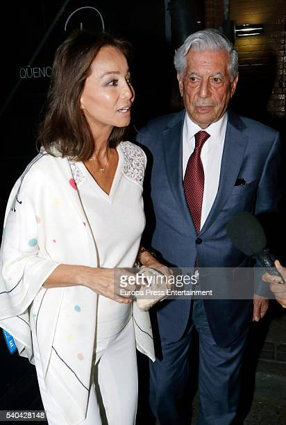 Mario Vargas LLosa and Isabel Preysler leave restaurant on May 24 2016 in Madrid Spain