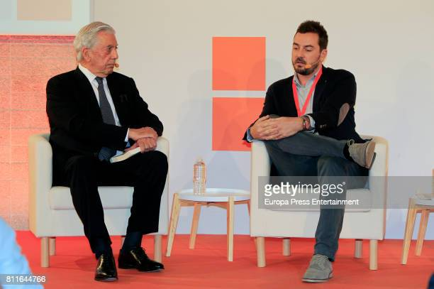 Mario Vargas Llosa and Jorge Bustos attend the opening of Ciudadanos Party summer courses on July 7 2017 in Madrid Spain