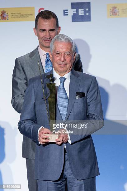Mario Vargas Llosa and King Felipe VI of Spain attend XXXIII 'Rey De Espana' and XII 'Don Quijote' journalism awards on July 13 2016 in Madrid Spain