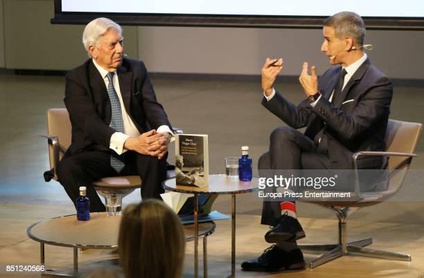 Mario Vargas Llosa and Ruben Gallo attend a conference about Vargas Llosa's last book 'Conversacion en Princeton' on September 21 2017 in Madrid Spain