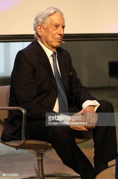 Mario Vargas Llosa attends a conference about his last book 'Conversacion en Princeton' on September 21 2017 in Madrid Spain
