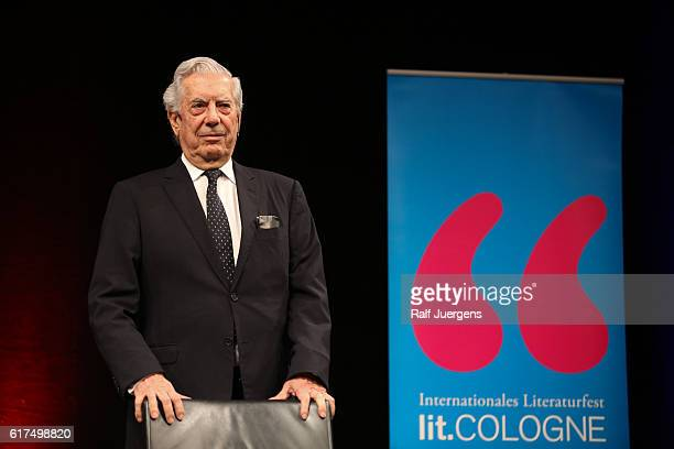 Mario Vargas Llosa attends a reading during the lit Cologne at `WDR Funkhaus´ on October 23 2016 in Cologne Germany