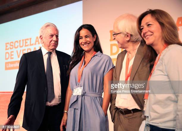Mario Vargas Llosa Begona Villacis and Antonio Escohotado attend the opening of Ciudadanos Party summer courses on July 7 2017 in Madrid Spain