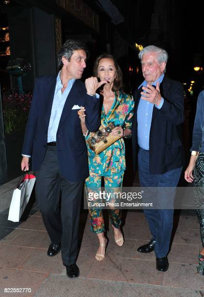 Mario Vargas Llosa Isabel Preysler and Jose Antonio RuizBerdejo are seen on June 7 2017 in Madrid Spain