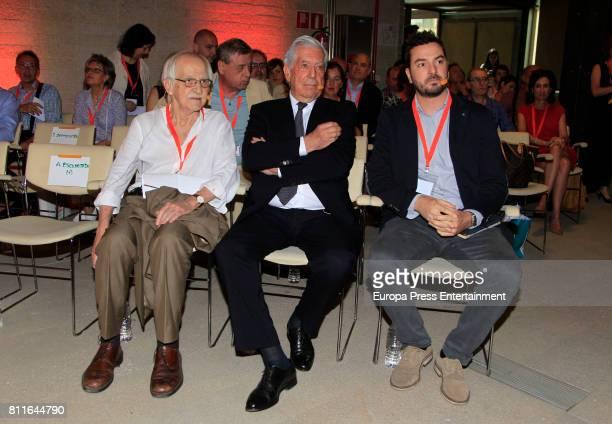 Mario Vargas Llosa Jorge Bustos and Antonio Escohotado attend the opening of Ciudadanos Party summer courses on July 7 2017 in Madrid Spain