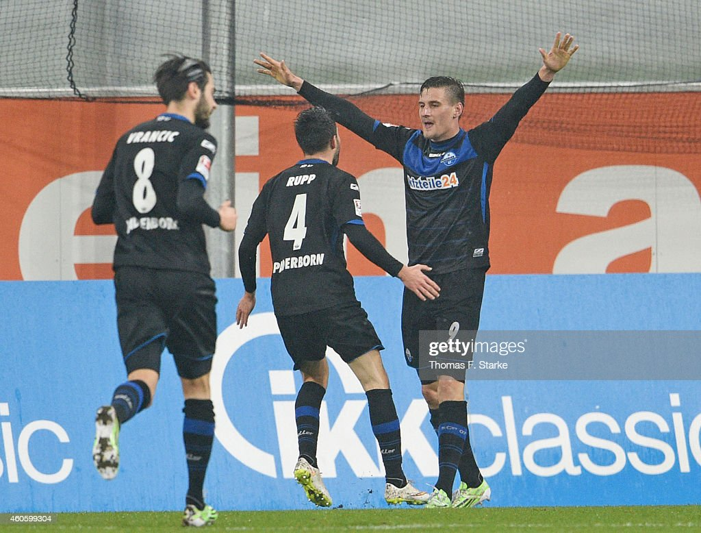 Mario Vrancic Lukas Rupp and Stefan Kutschke of Paderborn celebrate their teams first goal during the Bundesliga match between SC Paderborn and FC...