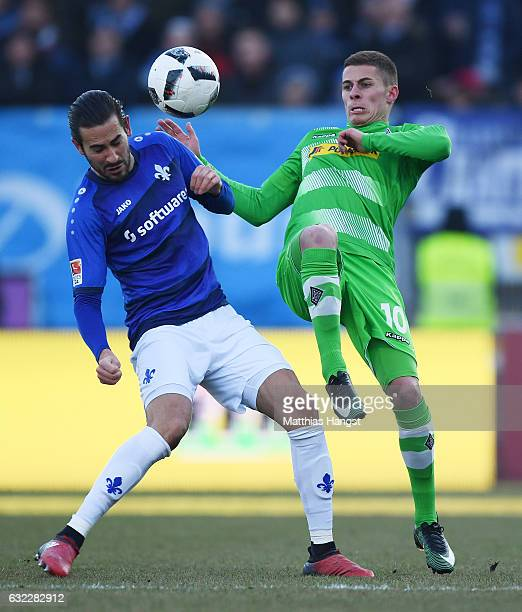 Mario Vrancic of Darmstadt and Thorgan Hazard of Gladbach compete for the ball during the Bundesliga match between SV Darmstadt 98 and Borussia...