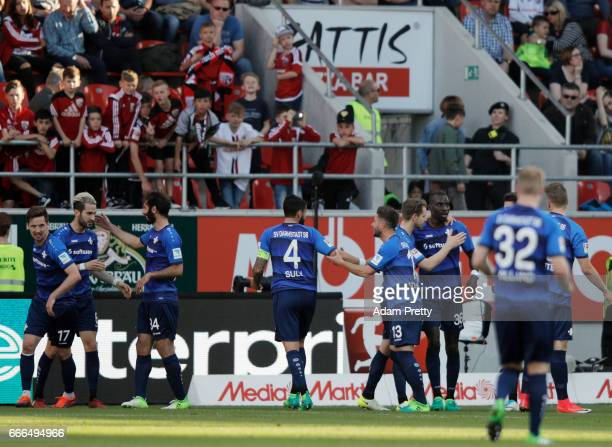 Mario Vrancic of Darmstadt celebrates his team's second goal with team mates during the Bundesliga match between FC Ingolstadt 04 and SV Darmstadt 98...