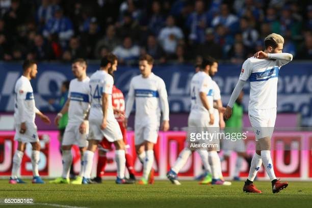 Mario Vrancic of Darmstadt reacts after being sent off during the Bundesliga match between SV Darmstadt 98 and 1 FSV Mainz 05 at...