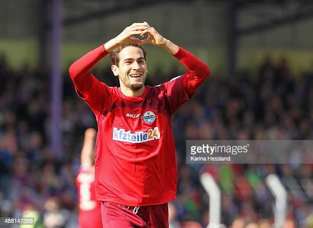 Mario Vrancic of Paderborn celebrates the second goal during the 2nd Liga match between FC Erzgebirge Aue and SC Paderborn 07 at...