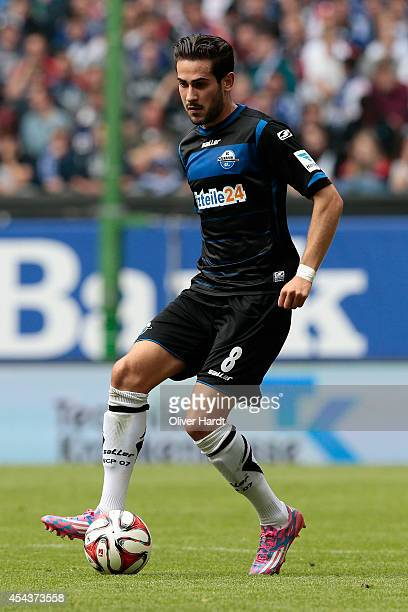 Mario Vrancic of Paderborn in action during the Bundesliga match between Hamburger SV and SC Paderborn 07 at Imtech Arena on August 30 2014 in...