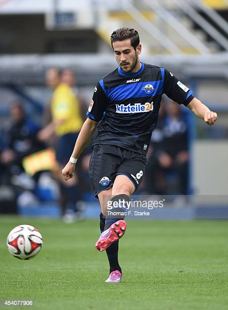 Mario Vrancic of Paderborn kicks the ball during the Bundesliga match between SC Paderborn and FSV Mainz 05 at Benteler Arena on August 24 2014 in...