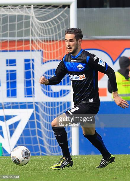 Mario Vrancic of Paderborn plays the ball during the match between SC Paderborn and VFR Aalen at Benteler Arena on May 11 2014 in Paderborn Germany