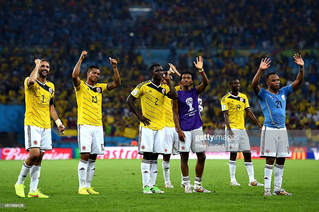 <a gi-track='captionPersonalityLinkClicked' href=/galleries/search?phrase=Mario+Yepes&family=editorial&specificpeople=648682 ng-click='$event.stopPropagation()'>Mario Yepes</a> (1st L) and Colombia players celebrate the 2-0 win after the 2014 FIFA World Cup Brazil Round of 16 match between Colombia and Uruguay at Maracana on June 28, 2014 in Rio de Janeiro, Brazil.