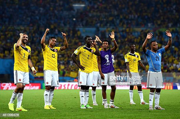 Mario Yepes and Colombia players celebrate the 20 win after the 2014 FIFA World Cup Brazil Round of 16 match between Colombia and Uruguay at Maracana...