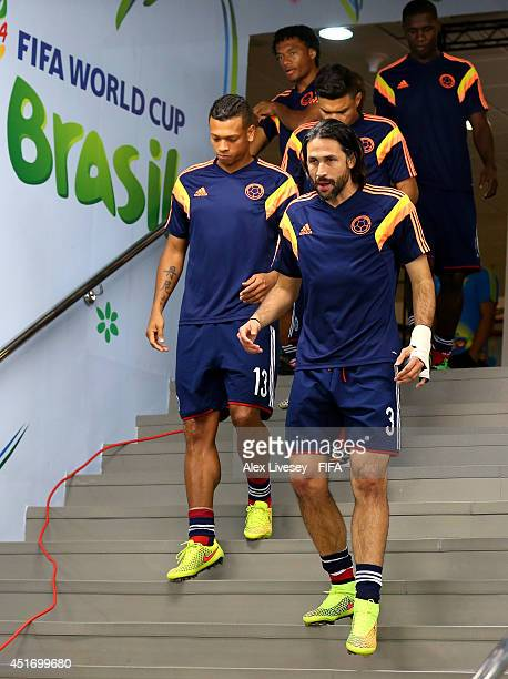Mario Yepes and Colombia players walk in the tunnel for warming up prior to the 2014 FIFA World Cup Brazil Quarter Final match between Brazil and...