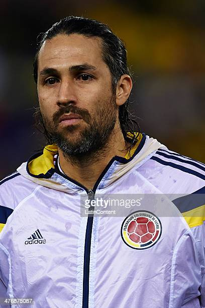 Mario Yepes of Colombia looks on prior the International friendly match between Colombia and Tunisia at Cornella el Prat Stadium on March 5 2014 in...