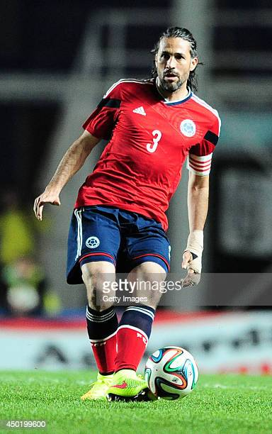 Mario Yepes of Colombia passes the ball during the International Friendly Match between Colombia and Jordan at Pedro Bidegain Stadium on June 06 2014...