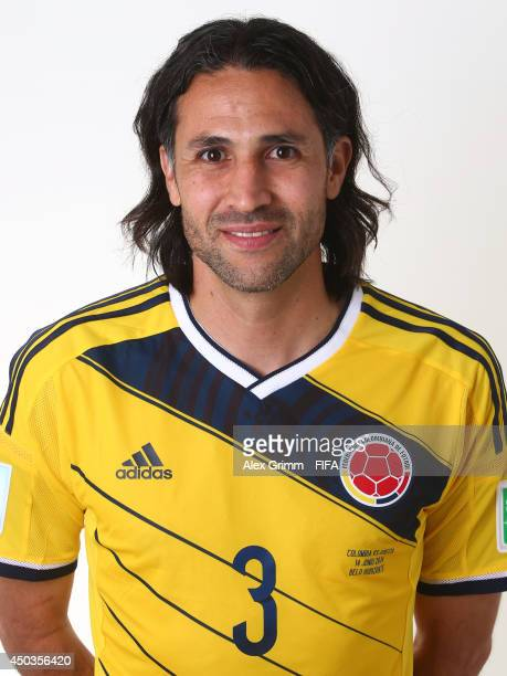 Mario Yepes of Colombia poses during the official FIFA World Cup 2014 portrait session on June 9 2014 in Sao Paulo Brazil