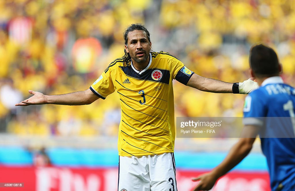<a gi-track='captionPersonalityLinkClicked' href=/galleries/search?phrase=Mario+Yepes&family=editorial&specificpeople=648682 ng-click='$event.stopPropagation()'>Mario Yepes</a> of Colombia reacts during the 2014 FIFA World Cup Brazil Group C match between Colombia and Greece at Estadio Mineirao on June 14, 2014 in Belo Horizonte, Brazil.