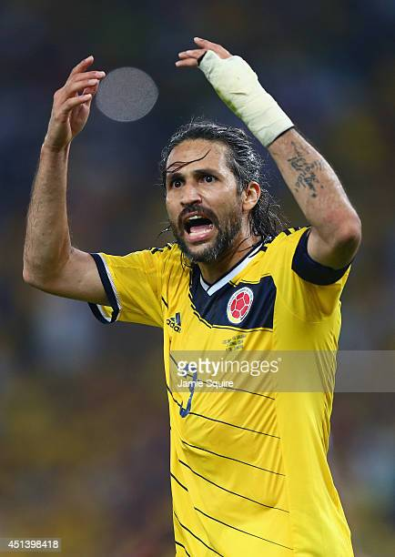 Mario Yepes of Colombia reacts during the 2014 FIFA World Cup Brazil round of 16 match between Colombia and Uruguay at Maracana on June 28 2014 in...