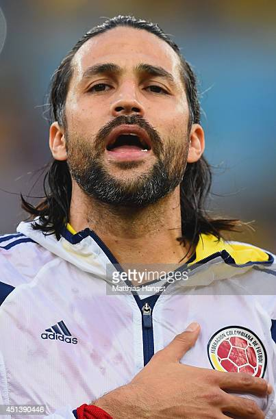 Mario Yepes of Colombia sings the National Anthem prior to the 2014 FIFA World Cup Brazil round of 16 match between Colombia and Uruguay at Maracana...