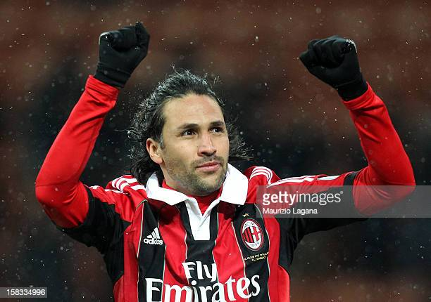 Mario Yepes of Milan celebrates after scoring his team's opening goal during the TIM Cup match between AC Milan and Reggina Calcio at San Siro...
