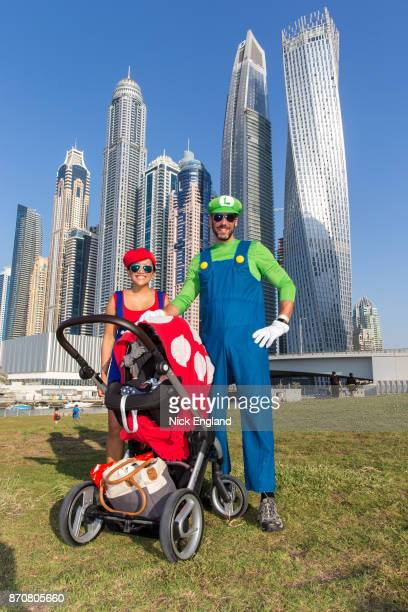 MarioKart family join the superhero marathon at Skydive Dubai on November 3 2017 in Dubai United Arab Emirates