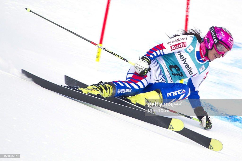 Marion Bertrand of France races down the piste during the Audi FIS Alpine Ski World Giant Slalom race on December 9 2012 in St Moritz, Switzerland.