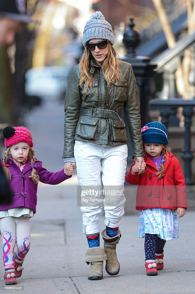Marion Broderick, actress Sarah Jessica Parker, and Tabitha Broderick walk to school in the West Village on March 13, 2013 in New York City.