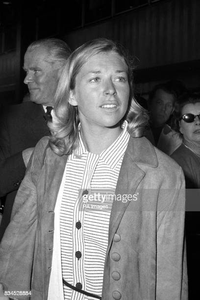 Marion Coakes after returning to Britain from the Mexico Olympics where she won the silver medal in the Individual Show Jumping