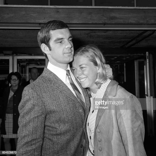 Marion Coakes and her boyfriend David Mould after returning to Britain from the Mexico Olympics where she won the silver medal in the Individual Show...